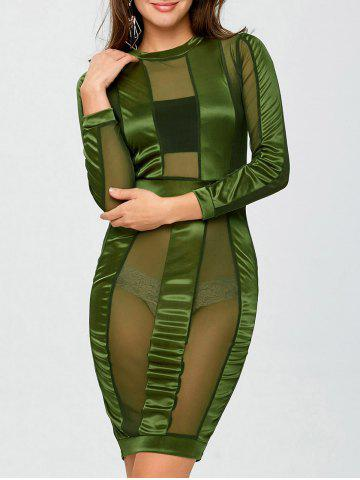 Outfit See Through Long Sleeve Bandage Club Dress - S ARMY GREEN Mobile