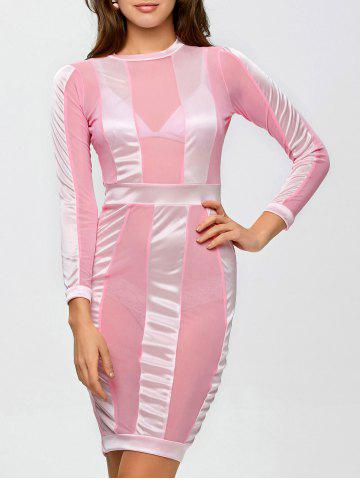 Latest See Through Long Sleeve Bandage Club Dress PINK L