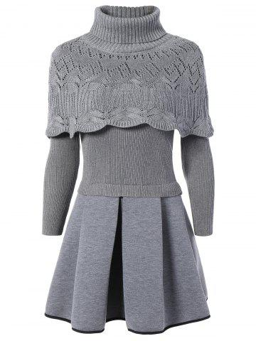 Best Turtleneck Openwork Cape and Ribbed Ball Dress