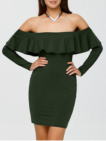 Fashion Flounce Long Sleeve Off The Shoulder Bodycon Dress ARMY GREEN M
