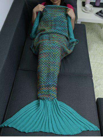 New Home Sofa Rhombus Design Knitted Throw Bed Mermaid Blanket - LAKE BLUE  Mobile
