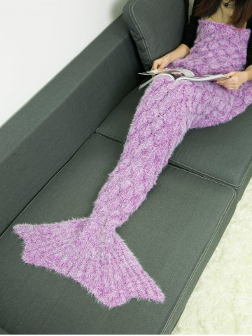 Soft Knitted Throw Bed Wrap Mermaid Blanket - LIGHT PURPLE