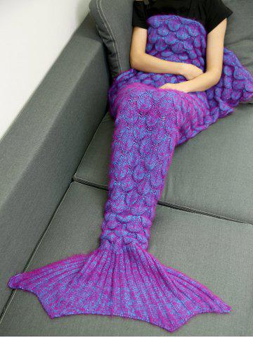 Latest Soft Knitted Throw Bed Wrap Mermaid Blanket - PURPLISH RED  Mobile