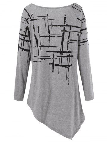 New Long Sleeve Splatter Paint Plus Size Asymmetric T-Shirt - 2XL GRAY Mobile