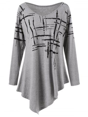 Affordable Long Sleeve Splatter Paint Plus Size Asymmetric T-Shirt - 2XL GRAY Mobile