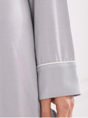 Chic Casual Cotton Sleep Shirt Dress With Pocket - M GRAY Mobile