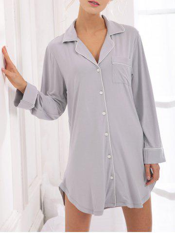 New Casual Cotton Sleep Shirt Dress With Pocket - M GRAY Mobile