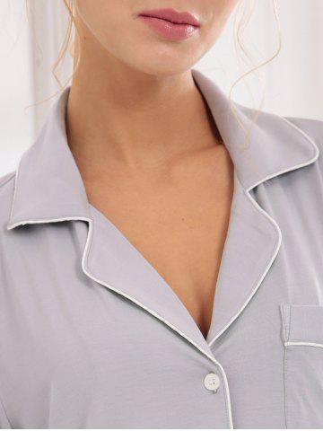 Outfit Casual Cotton Sleep Shirt Dress With Pocket - M GRAY Mobile