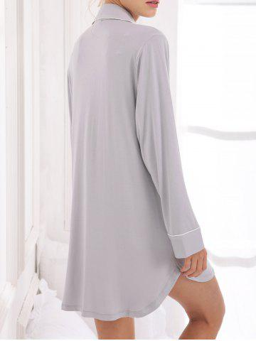 Shops Casual Cotton Sleep Shirt Dress With Pocket - M GRAY Mobile