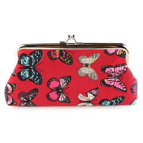 Unique Kiss Lock Butterfly Print Clutch Bag RED