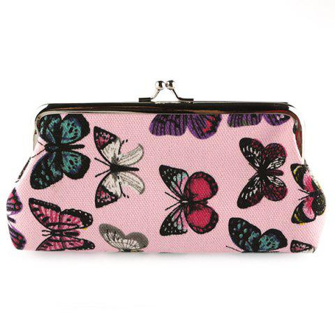 Fashion Kiss Lock Butterfly Print Clutch Bag