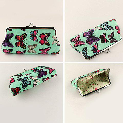 Sale Kiss Lock Butterfly Print Clutch Bag - GREEN  Mobile