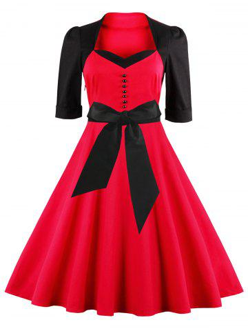 Shops Midi Fit and Flare Two Tone Vintage Dress RED 4XL