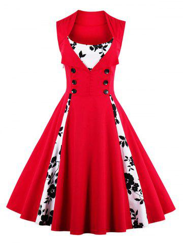 Discount Fit and Flare Print Vintage Tea Length Dress RED XL