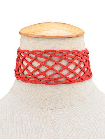 Artificial Leather Braid Choker Necklace - Red