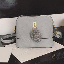 Faux Leather Pom Pom Crossbody Bag - GRAY