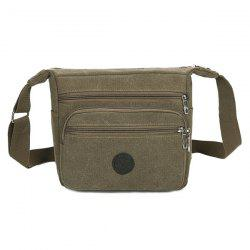 Canvas Multi Zips Crossbody Bag - KHAKI