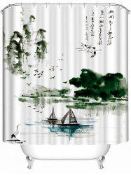 Chinese Ink Landscape Polyester Bath Shower Curtain
