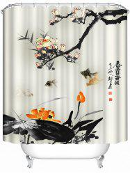 Chinese Ink Painting Waterproof Bath Decor Shower Curtain - BEIGE