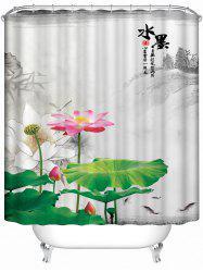 Chinese Ink Painting Lotus Waterproof Bath Shower Curtain