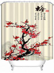 Chinese Plum Blossom Ink Painting Polyester Fabric Shower Curtain