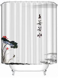 Waterproof Chinese Style Ink Paint Bath Shower Curtain