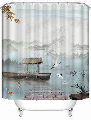 Chinese Style Landscape Bathroom Shower Curtain