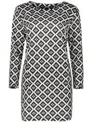 Plus Size Diamond Pattern Long Sleeve  Dress