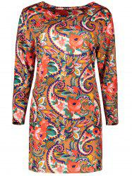 Plus Size Retro Long Sleeve Floral Paisley Dress