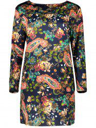 Plus Size Retro Long Sleeve Paisley Dress -