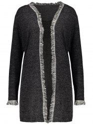 Plus Size Fringed Cardigan - DEEP GRAY