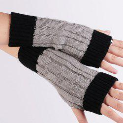 Color Block Warm Knitted Ribbed Fingerless Gloves