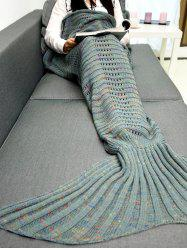 Hollow Out Wave Striped Crochet Knit Mermaid Blanket Throw