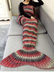 Ombre Striped Chunky Crochet Knit Mermaid Blanket Throw -