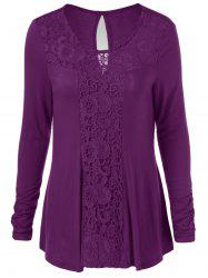 Long Sleeve Cut Out Lace Trim T-Shirt -