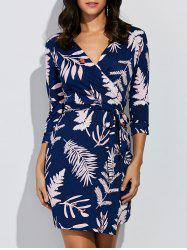 Leaf Print Wrap Around Mini Dress