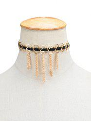Artificial Leather Circle Fringed Choker Necklace