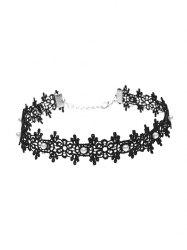 Lace Faux Pearl Floral Choker Necklace