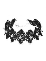 Artificial Pearl Lace Flower Choker Necklace