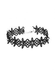 Artificial Pearl Lace Floral Choker Necklace