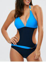 Halter High Cut Color Block One-Piece Swimwear