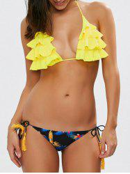 Halter Layered Ruffles Printed Bikini Set