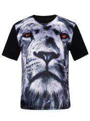 Silk Imitation 3D Tiger Print T-Shirt