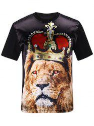 Silk Imitation 3D Crown Lion Print T-Shirt - BLACK