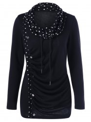 Cowl Neck Polka Dot Trim T-Shirt