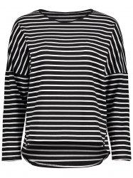 Drop Shoulder Striped Asymmetrical Tee
