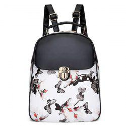 Butterfly Print Vintage Backpack