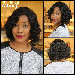 Adiors Short Side Parting Fluffy Curly Synthetic Wig - BLACK