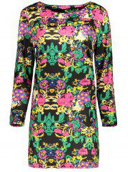 Plus Size Printed Long Sleeve Dress With Pocket