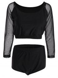 Plus Size Sheer Long Sleeve Tankini Swimsuit